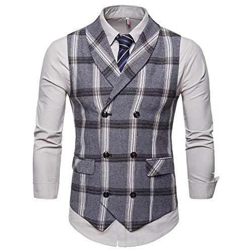 Imprimé Bouton Gris Plus Plaid Veste Costume Entreprise Sans De Choix Jacket Manche Gilet Homme Osyard Tops wzZ4q8XR