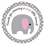 Little Peanut Girl Elephant Thank You Sticker Labels - Baby Shower Party Pink