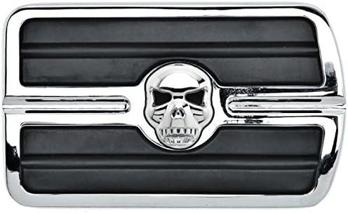 Krator Chrome Brake Pedal Pad Cover Black NonSlip Rubber For Kawasaki Vaquero 1700 2009-2015