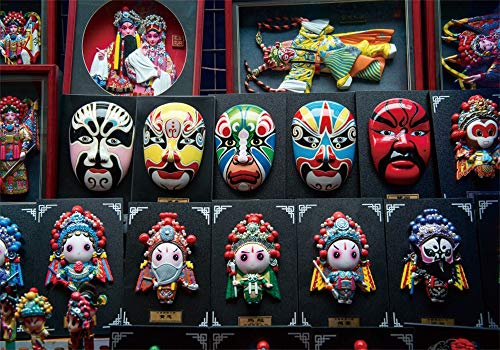 AOFOTO 9x6ft Traditional Chinese Opera Mask Backdrop Asia Beijing Colorful Drama Facial Makeup Theatrical Masks Background for Photography Travel Souvenir Baby Adult Family Photo Studio Props Vinyl