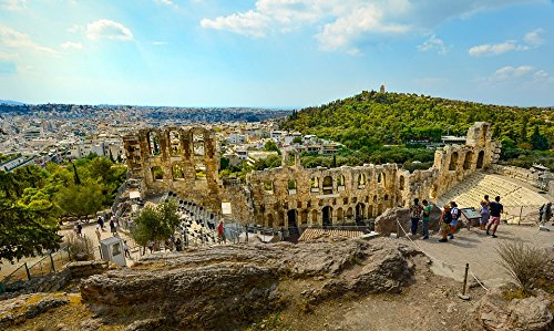 Home Comforts LAMINATED POSTER Acropolis Temple Greece Athens View Greek Theater Poster 24x16 Adhesive Decal - Acropolis View Athens Greece