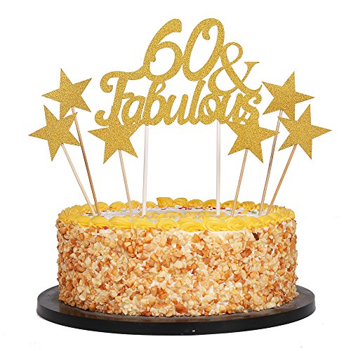 QIYNAO 7 Gold Glittery Fabulous Cake Topper and Five-Pointed Star, Wedding, Birthday, Anniversary, Party Cupcake Topper Decoration (60& Fabulous)