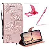 Strap Leather Case for Moto G6,Wallet Leather Case for Moto G6,Herzzer Premium Stylish Pretty 3D Rose Gold Butterfly Printed Bookstyle Magnetic Full Body Soft Rubber Flip Portable Carrying Stand Case with Card Holder Slots