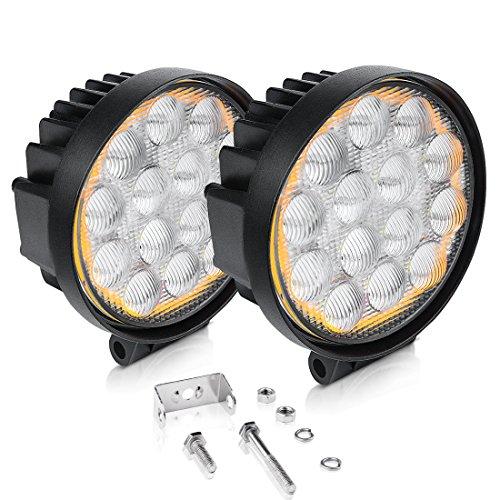 "AUTOSAVER88 5D LED Pods Light Bar, Round 5"" 60W 6000LM Flood Off Road Super Bright Waterproof 4X4 Driving Running Lights with Amber Fog Light Circle, 2 Year Warranty"