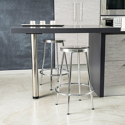 Christopher Knight Home 236697 Mayworth Chrome Barstools (Set of 2), White