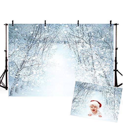 COMOPHOTO Winter Photography Backdrops Outdoor Scene 7x5ft Snow Forest Christmas Decorations Background Thanksgiving Photo Booth -