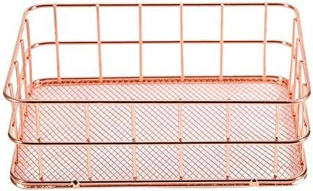 Hztyyier Rose Gold Storage Basket Metal Mesh Office Holder Suministros Mesa Escritorio Caj/ón Organizador de Maquillaje Bandejas para joyer/ía Papeler/ía cosm/ética Big