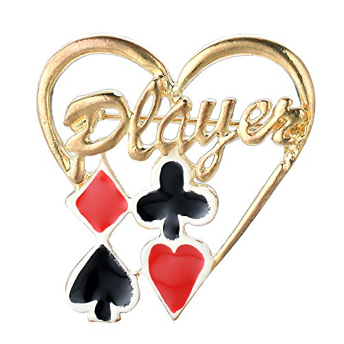 Gold Tone Hand Painted Poker/Blackjack Card Player |