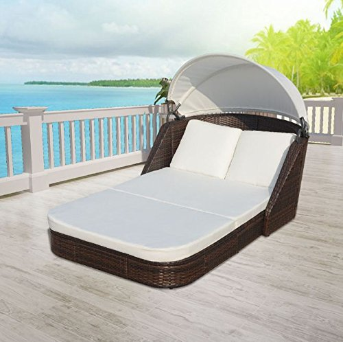 SKB Family Sun Lounger with Canopy Poly Rattan Brown Patio Chaise Outdoor Sun Bed