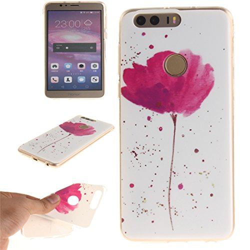 Hozor Huawei Honor 8 Cas, Motif Peint TPU Souple En Silicone Couverture Arrière Slim Fit Antichoc Scratch Résistant Cas De Téléphone De Protection Bord Transparent flower
