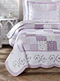 Cozy Line Home Fashions 3 Piece Love of Lilac Cotton Quilt Set, King