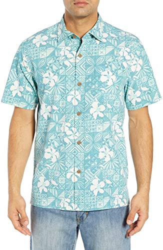 Silk Blend Camp Shirt - Tommy Bahama Island Zone Tahitian Tiles Silk Blend Camp Shirt (Color: Gulf Shore, Size L)