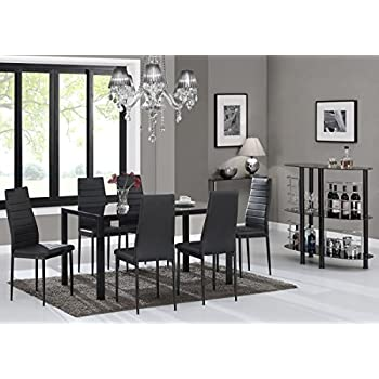 IDS Online 7 Pieces Modern Glass Dining Table Set Faxu Leather With 6 Chairs Black