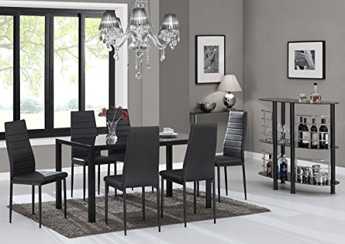 IDS Online 7 Pieces Modern Glass Dining Table Set Faxu Leather With 6 Chairs Black. (Room Dining Table And Chair)