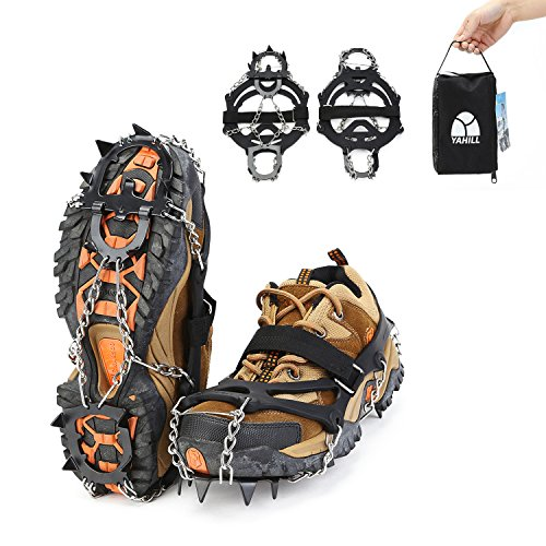 YAHILL Ice Crampons Traction Cleats Snow Grips with 13 Teeth Manganese Steel Spikes for Shoes, Unisex Multi-function Anti-slip Device for Winter Walking, Jogging, Hiking, or Climbing (Black-L)