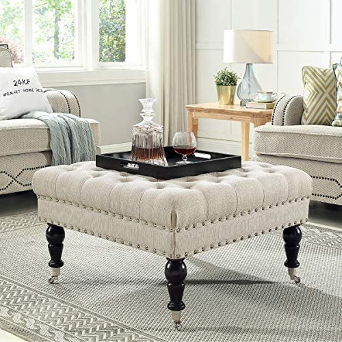 24KF Large Square Upholstered Tufted Button Linen Ottoman Coffee Table
