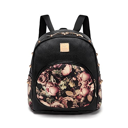 Money coming shop (Black)Women Backpacks 3D Printing Floral PU Leather Rivet Backpack Female Trendy Designer School Bags Teenagers Girls Travel Mochilas