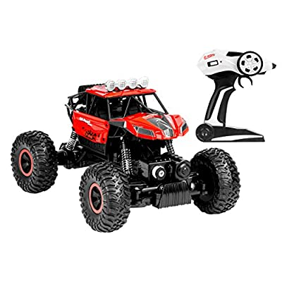 Heavy RC Car, Zooawa 2.4GHz Radio Remote Control Rock Crawler High Speed 1:16 4WD Racing Vehicle with Rechargable Battery for Kids and Adults - RED + BLACK