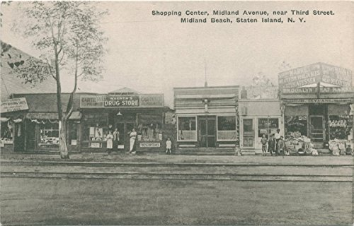 Vintage Postcard Print | Shopping Center, Midland Avenue, near Third Street, Midland Beach, Staten Island [pub. Wagner Pharmacy] , | Historical Antique Fine Art - The Center Avenues Shopping