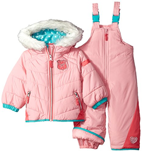 cfe7ab662 London Fog Baby Girls Snowsuit with Snowbib and Puffer Jacket, Coral/Turq,  12M - Buy Online in Oman. | Apparel Products in Oman - See Prices, ...