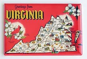 Greetings From Virginia Fridge Magnet (Cardinal & Map)