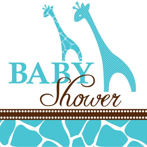 Creative Converting Baby Shower Wild Safari Blue 16 Count 3-Ply Paper Beverage Napkins]()