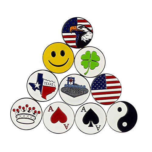 PINMEI Lot of 10 Different Golf Ball Markers, Special Unique, Dia 24.4MM, Soft Enamel ()