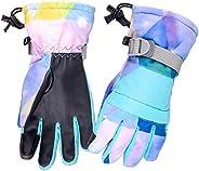 Azarxis Kids Snow Ski Gloves, Children Winter Windproof Warm Touchscreen Snowboard Gloves for Boys & G