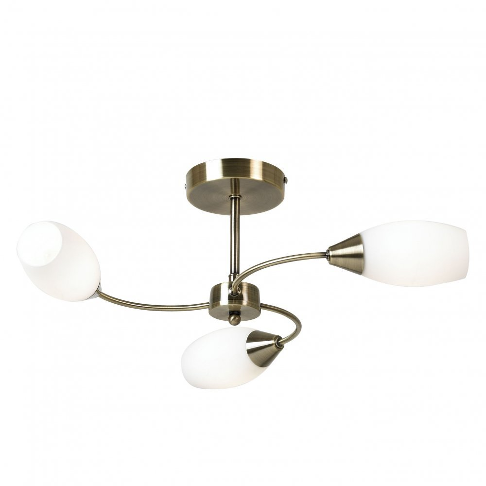 new style c7cde 70bcc THLC Modern Antique Brass 3 Way Semi Flush Ceiling Light with White Glass  Shades