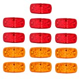 KOYA 13pcs Trailer Marker LED Light Double Bullseye Amber/Red 10LED Clearance/Side Marker Light