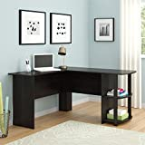 Altra Dakota L-Shaped Desk with Bookshelves, Dark Russet Cherry