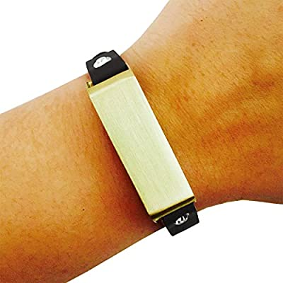 Fitbit Bracelet for FitBit Flex Fitness Trackers - The KATE Single-Strap Brushed Metal and Premium Vegan Leather Buckle Fitbit Bracelet