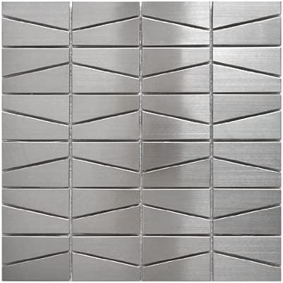 Modern Trapezoid Stainless Steel Metal Tile Kitchen Backsplashbathroom Wallhome Decorfireplace Surround