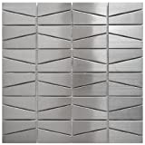 stainless steel fireplace surround Modern Trapezoid Stainless Steel Metal Tile - Kitchen Backsplash/Bathroom Wall/Home Decor/Fireplace Surround
