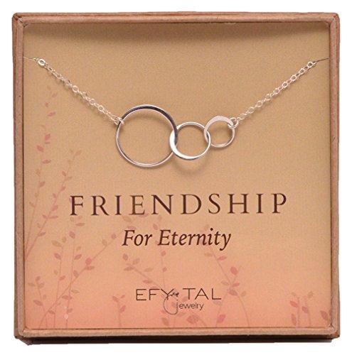 Three Friend Necklace, Sterling Silver Friendship Interlocking Infinity Circles Gift For 2-3 Best (Interlocking Link Necklace)