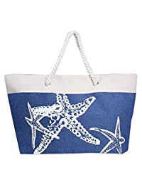 RJAY Summer Large Beach Tote Bag with Zipper Closure, Braided Rope Handles and Inner Pocket (Starfish - Navy)