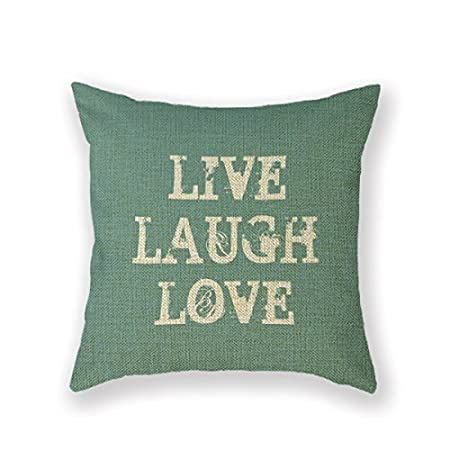 Customized Standard New Arrival Pillowcase Live Laugh Love Live Love Laugh Decor Quote Throw Pillow 20 X 20 Square Cotton Linen Pillowcase Cover Cushion