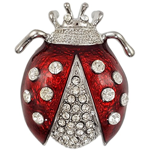 CRYSTAL RED RHODIUM PLATED LADYBUG BROOCH PIN MADE WITH SWAROVSKI ELEMENTS