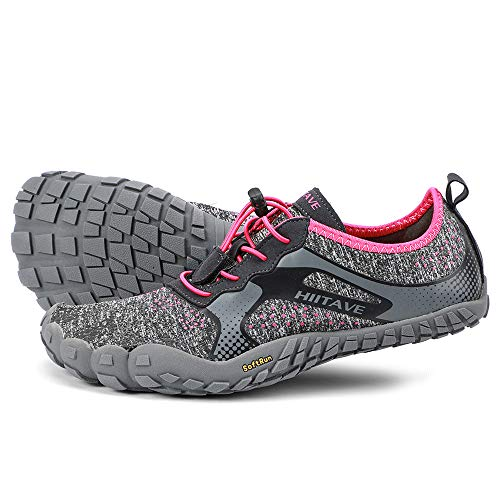ALEADER hiitave Womens Barefoot Cross Training Shoes Wide Toe Minimalist Trail Runners Dark Gray/Fushia US 8/8.5 ()