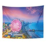 Emvency Tapestry Travel Myrtle Beach South Carolina USA City Skyline Amusement America Home Decor Wall Hanging for Living Room Bedroom Dorm 60x80 inches
