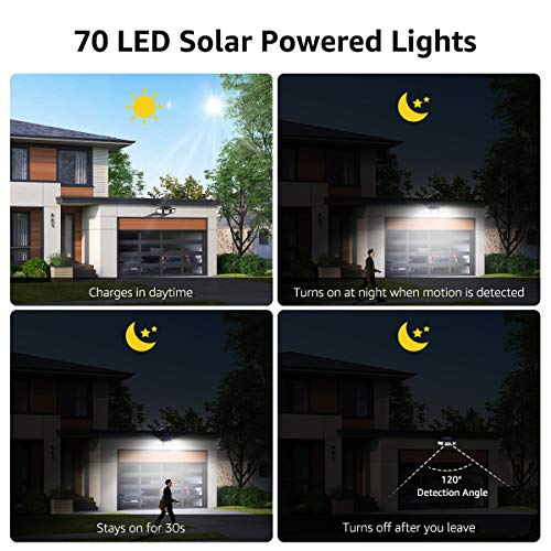 LE Solar Lights Outdoor, Motion Sensor Security Lights, 3 Adjustable Head 70 LED 270° Wide Angle, Waterproof Wireless Wall Lights for Porch Yard Garage Pathway and More