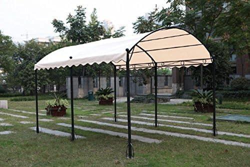 Cenador en forma de túnel, 3 x 4 m, hecho de hierro con lona de color crudo, resistente al sol, para jardín