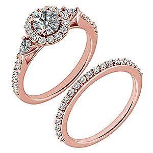 1.2 Carat G-H I2-I3 Diamond Engagement Wedding Anniversary Halo Bridal Ring Set 14K Rose Gold