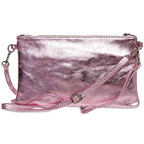 de Rosa de Mujer Metalizado Genuino Bolso TL717 Fiesta Mano Clutch Metalizado Cuero para CASPAR xYwzT7HYn