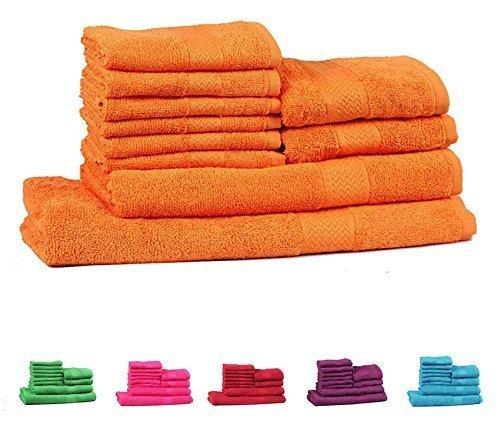 Trident Soft and Light 100% Combed Cotton 400 GSM 10-Pieces (Bath, Hand & Wash Cloth) Towel Gift Set, Orange (Orange Washcloths)