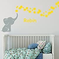 Elephant Bubbles with Personalized Name Multi Color Vinyl Nursery Room Wall Decal