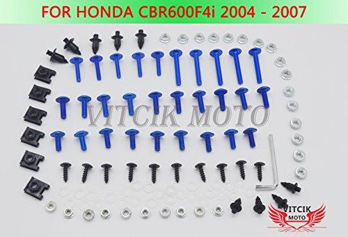 VITCIK Full Fairings Bolt Screw Kits for Honda CBR600F4i 2004 2005 2006 2007 CBR 600 F4i 04 05 06 07 Motorcycle Fastener CNC Aluminium Clips (Blue & Silver) 06 Honda Cbr600f4i Cbr