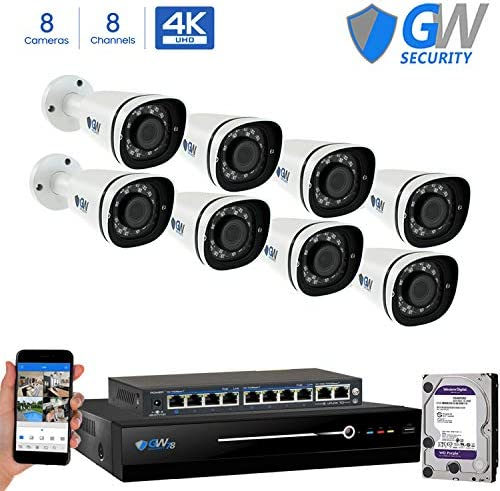 GW 8 Channel 8MP UltraHD 4K 3840×2160 Audio Video Motorized Zoom Home NVR Security System – 8 x Bullet 8 Megapixel 2.8-8mm 3X Optical Zoom Waterproof IP PoE Cameras Built-in Microphone