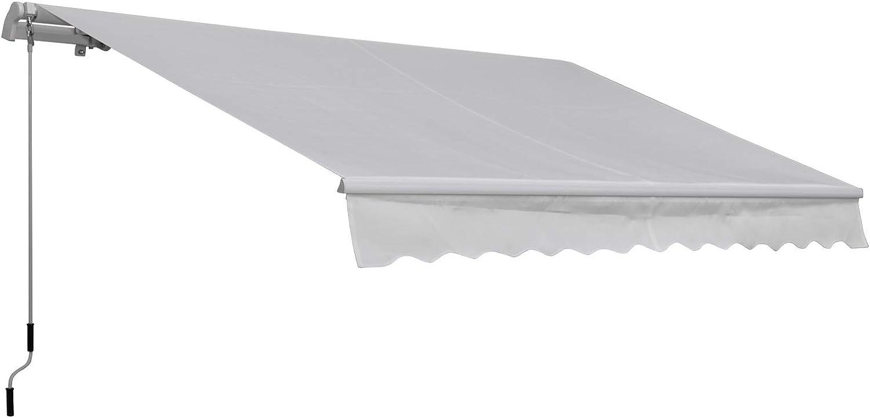 Outsunny Toldo Manual Plegable de Aluminio Toldo Balcón Patio Terraza