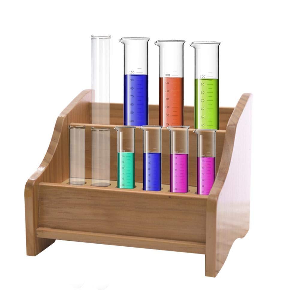 Holz Reagenzglasgestell f/ür 18 Gl/äser Reagenzglasst/änder 20mm Durchmesser Reagenzglas Halterung-28cmx15cmx14cm